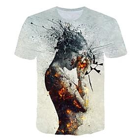 cheap Athleisure Wear-Men's T shirt Color Block 3D Cartoon Print Short Sleeve Club Tops Streetwear Exaggerated Light gray