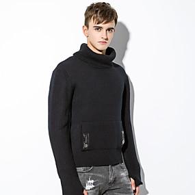 preiswerte Pullover-Herrn Solide Langarm EU- / US-Größe Schlank Pullover Pullover Jumper, Stehkragen Herbst / Winter Schwarz / Grau US34 / UK34 / EU42 / US36 / UK36 / EU44 / US38 / UK38 / EU46