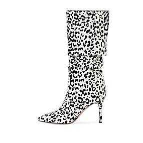 cheap Fashion Boots-Women's Boots Knee High Boots Stiletto Heel Pointed Toe Suede Knee High Boots British / Minimalism Spring &  Fall / Winter Brown / White / Pink / Party & Evening / Leopard