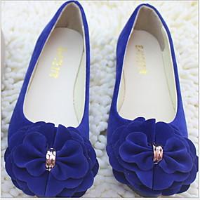 voordelige Damesschoenen met platte hak-Dames Platte schoenen Platte hak Ronde Teen Satijnen bloem Suède Zomer Zwart / Wijn / Wit