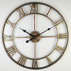 cheap Rustic Wall Clocks-Modern Contemporary Plastic & Metal Round Indoor Other Battery Powered Decoration Wall Clock Antique Copper No