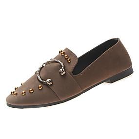 voordelige Damesschoenen met platte hak-Dames Platte schoenen Platte hak Ronde Teen Siernagel PU Informeel Lente Zwart / Khaki