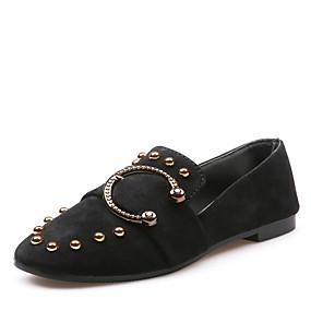voordelige Damesinstappers & loafers-Dames Loafers & Slip-Ons Platte hak Vierkante Teen Siernagel Imitatieleer Vintage / Informeel Lente & Herfst Zwart / Khaki