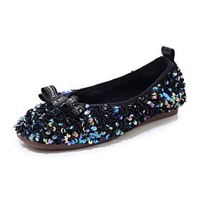 voordelige Damesschoenen met platte hak-Dames Platte schoenen Platte hak Ronde Teen Pailletten Imitatieleer Studentikoos / minimalisme Wandelen Lente & Herfst Zwart / Zilver