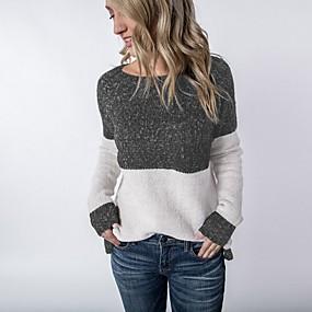 preiswerte Damenbekleidung-Damen Einfarbig Langarm Pullover Pullover Jumper, Rundhalsausschnitt Schwarz S / M / L