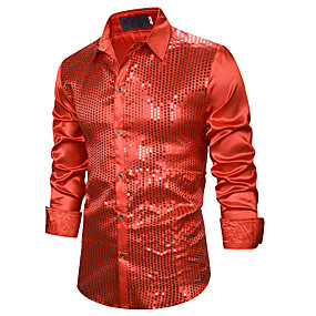 cheap Athleisure Wear-Men's Shirt Solid Colored Sequins Long Sleeve Performance Tops Basic Sexy Classic Collar Blue Purple Gold / Club