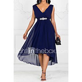 preiswerte Gratis Versand-Damen Party A-Linie Kleid Solide Maxi V-Ausschnitt