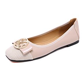 voordelige Damesschoenen met platte hak-Dames Platte schoenen Platte hak Vierkante Teen Strik / Gesp Lakleer Zoet / minimalisme Herfst / Lente zomer Zwart / Amandel / Rood