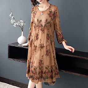 preiswerte Damenbekleidung-Damen Übergrössen Anspruchsvoll Elegant A-Linie Kleid - Spitze Rüsche Bestickt, Blumen Midi Orang-Utan Rose Zauberwürfel