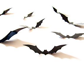 preiswerte Zubehöre für Halloween Party-wandaufkleber 12 stücke schwarz 3d diy pvc bat wandaufkleber aufkleber home halloween dekoration