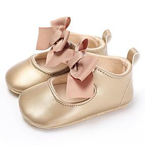 preiswerte Schuhe für Kinder-Mädchen Lauflern PU Flache Schuhe Kleinkinder (0-9 m) / Kleinkind (9m-4ys) Rot / Blau / Rosa Frühling / Sommer