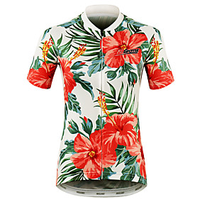 cheap Cycling & Motorcycling-21Grams Floral Botanical Hawaii Women's Short Sleeve Cycling Jersey - Red Bike Jersey Top Quick Dry Moisture Wicking Breathable Sports Summer 100% Polyester Mountain Bike MTB Road Bike Cycling