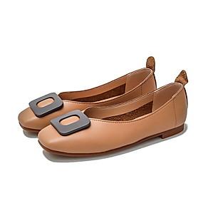 voordelige Damesschoenen met platte hak-Dames Platte schoenen Lage hak Vierkante Teen Microvezel Zomer Zwart / Amandel / Khaki