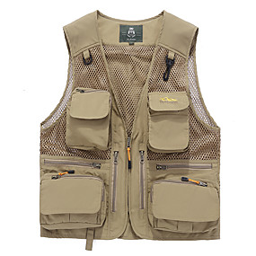cheap Camping, Hiking & Backpacking-Men's Hiking Fishing Vest Work Vest Outdoor Casual Lightweight with Multi Pockets Autumn/Fall Spring Travel Cargo Safari Photo Wear Resistance Breathable Waistcoat Jacket Coat Top