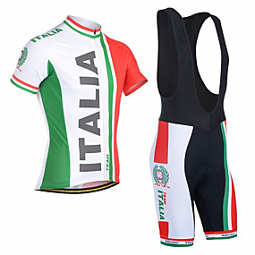 cheap Cycling & Motorcycling-21Grams Men's Short Sleeve Cycling Jersey with Bib Shorts Summer Red and White Italy National Flag Bike Clothing Suit Anatomic Design Quick Dry Moisture Wicking Breathable UV Protection Sports