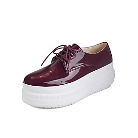 voordelige Damessneakers-Dames Sneakers Creepers Ronde Teen Lakleer Brits Lente / Herfst winter Zwart / Wit / Bordeaux