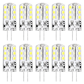 cheap LED Bi-pin Lights-10PCS MINI G4 LED Bulb 3W 24 LED Beads SMD 2835 Equivalent to G4 Halogen Bulb 30W  Warm white 3000K Daylight White 6000K G4 Base DC12V  AC220V