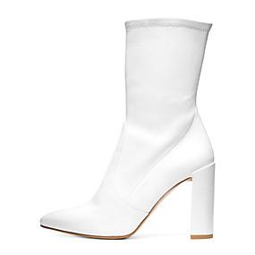 billige Mote Boots-Dame Støvler Tykk hæl Spisstå Semsket lær / Fuskelær Støvletter Britisk / minimalisme Vår & Vinter / Vinter Svart / Hvit / Fest / aften