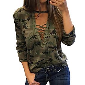 preiswerte Damen Oberteile-Damen camuflaje - Grundlegend T-shirt Druck Grün