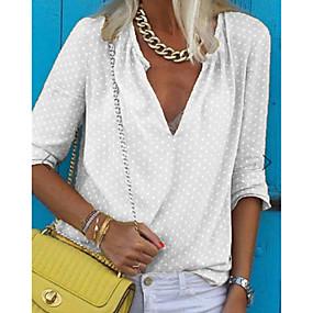 preiswerte FR Inspiration folk Adoptez le look bohème-Damen Solide Bluse Weiß