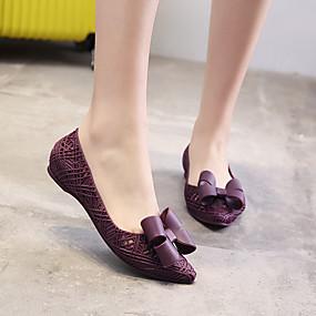 voordelige Damesschoenen met platte hak-Dames Platte schoenen Platte hak Gepuntte Teen Strik PVC Informeel Zomer Zwart / Donkerrood / Donker paars