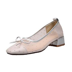 voordelige Damesinstappers & loafers-Dames Loafers & Slip-Ons Blok hiel Gepuntte Teen PU Zomer Zwart / Zilver