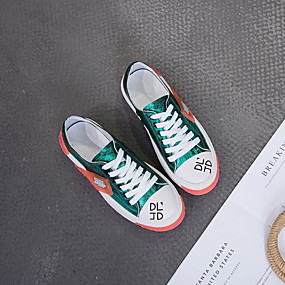 voordelige Damessneakers-Dames Sneakers Platte hak Ronde Teen Leer Zomer Luipaard / Goud / Groen