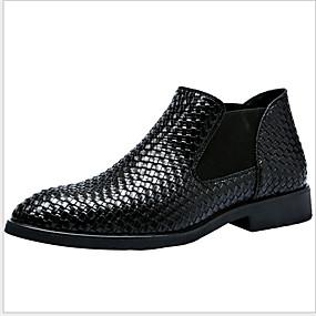 preiswerte Herrenschuhe-Herrn Komfort Schuhe PU Herbst Winter Stiefel warm halten Booties / Stiefeletten Schwarz / Rot / Blau
