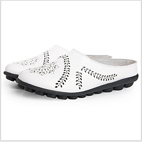 cheap Fashion Slippers-Women's Slippers & Flip-Flops Flat Heel Round Toe Cowhide Summer Black / Wine / Light Blue