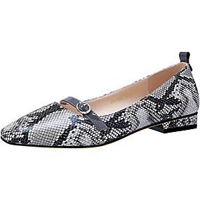 voordelige Damesschoenen met platte hak-Dames Platte schoenen Lage hak Ronde Teen PU Lente & Herfst Oranje / Grijs