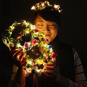 preiswerte Ungewöhnliche Lampen und Lichter-1 stück dekoration licht schöne helle girlande für weihnachtsfeier bunte halloween kranz blume stirnband für frauen mädchen led haarkrone haar girlanden