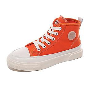 voordelige Damessneakers-Dames Sneakers Platte hak Ronde Teen Canvas Lente & Herfst Zwart / Oranje / Geel