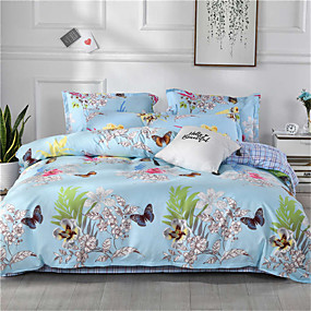 cheap Floral Duvet Covers-Duvet Cover Geometric / Floral / Botanical Poly / Cotton Printed 1 PieceBedding Sets