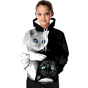 cheap Kids 3D Fashion-Kids Toddler Girls' Active Basic Black & White Cat Geometric Print Color Block Print Long Sleeve Hoodie & Sweatshirt White / Animal