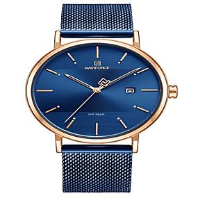 preiswerte Schmuck & Armbanduhren-NAVIFORCE Damen Quartz Uhr Elegant Minimalistisch Blau Silber Gold Edelstahl Japanisch Quartz Rotgold Gold Blau Wasserdicht Kalender Armbanduhren für den Alltag 30 m 1 Stück Analog Zwei jahr
