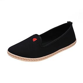 voordelige Damesinstappers & loafers-Dames Loafers & Slip-Ons Platte hak Ronde Teen Canvas Chinoiserie Wandelen Lente & Herfst Zwart / Zwart / Rood