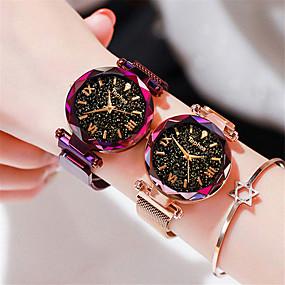 preiswerte Schmuck & Armbanduhren-Damen Armbanduhr Quartz Uhr Modisch Elegant Schwarz Blau Lila Edelstahl Quartz Schwarz Rotgold Purpur Armbanduhren für den Alltag 1 Stück Analog Ein Jahr Batterielebensdauer