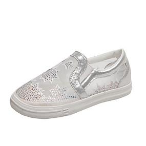 voordelige Damesinstappers & loafers-Dames Loafers & Slip-Ons Platte hak Ronde Teen PU Zomer Wit / Zilver