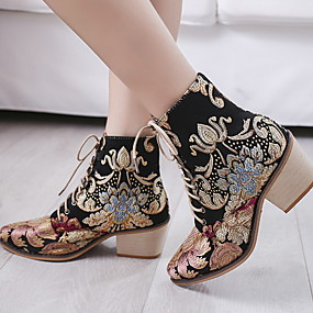 cheap Fashion Boots-Women's Boots Print Shoes Chunky Heel Round Toe Canvas Booties / Ankle Boots Spring &  Fall Rainbow