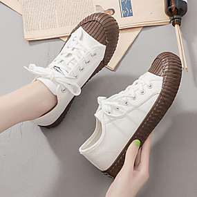 voordelige Damesschoenen met platte hak-Dames Platte schoenen Platte hak Ronde Teen Microvezel Lente zomer / Herfst winter Wit / Blauw / Khaki