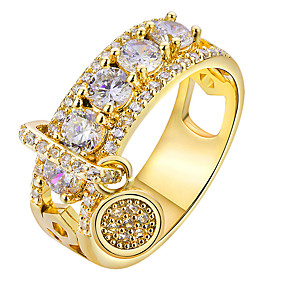 cheap Anniversary-Women's Ring 1pc Gold Silver Rhinestone Alloy Round Luxury Korean Fashion Daily School Jewelry Vintage Style