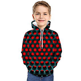 cheap Kids 3D Fashion-Kids Toddler Boys' Active Basic Geometric Color Block 3D Print Long Sleeve Hoodie & Sweatshirt Red