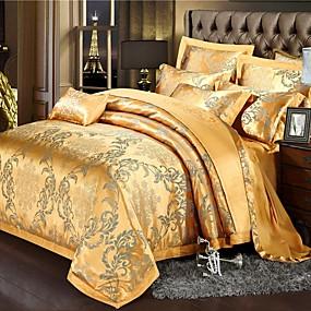 preiswerte Chinesische rote Bettbezüge-Bettbezug-Sets Blumen / Pflanzen / Chinesisch Rot Baumwolle Jacquard / Stickerei / Bedruckt & Jacquard 4 StückBedding Sets
