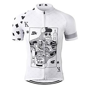 cheap Cycling & Motorcycling-21Grams Poker Men's Short Sleeve Cycling Jersey - Black+White Bike Jersey Top Quick Dry Moisture Wicking Breathable Sports Summer Terylene Mountain Bike MTB Road Bike Cycling Clothing Apparel