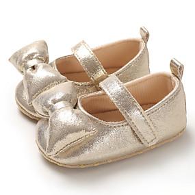 preiswerte Schuhe für Kinder-Mädchen Lauflern PU Flache Schuhe Kleinkinder (0-9 m) / Kleinkind (9m-4ys) Silber / Rot / Rosa Frühling / Sommer