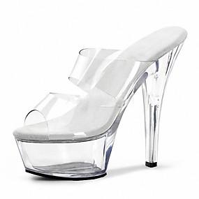povoljno Cipele i torbe-Žene Sandale Stožasta potpetica Peep Toe Kristal PVC Klasik / minimalizam Ljeto Crn / Crno-bijeli / Vedro / Zabava i večer