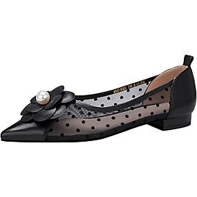 voordelige Damesschoenen met platte hak-Dames Platte schoenen Platte hak Gepuntte Teen Schapenleer / Netstof Lente & Herfst / Zomer Zwart / Wit