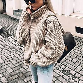 preiswerte Neu Eingetroffen-Damen Solide Langarm Lose Pullover Pullover Jumper, Rollkragen Herbst / Winter Schwarz / Weiß / Purpur S / M / L