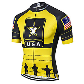 cheap Cycling & Motorcycling-21Grams American / USA USA National Flag Men's Short Sleeve Cycling Jersey - Black / Yellow Bike Jersey Top Quick Dry Moisture Wicking Breathable Sports Summer Elastane Terylene Polyester Taffeta