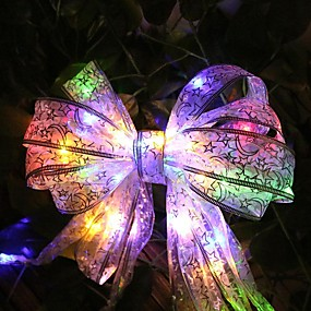 cheap Novelty Lights-4 Meters 40 Led Beads Ribbon Led String Lace Christmas Tree Party Festival Decor Bow Box Fairy Xmas Night Light
